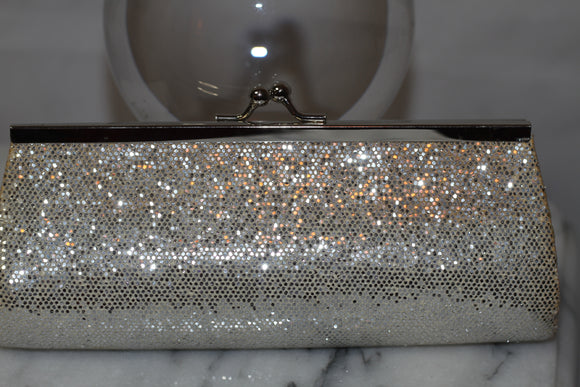Silver Sequin & Shimmer Mini Clutch Bag