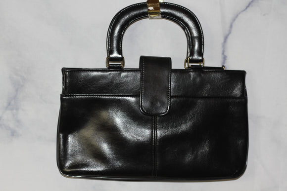 Black Leather Briefcase Handbag