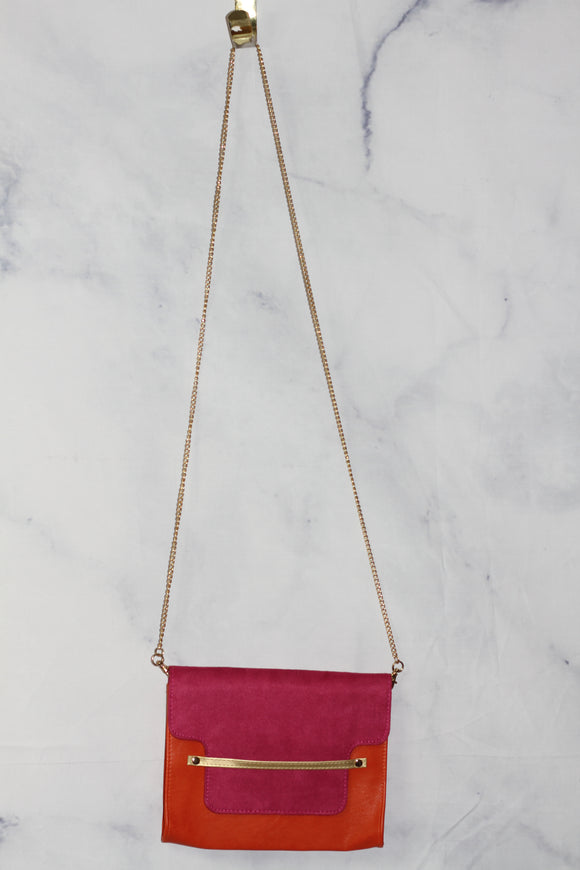 Pink & Orange Gold Envelope Handbag
