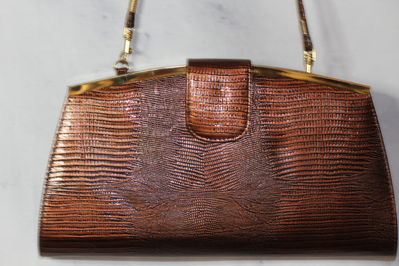 Brown Gold Clutch Handbag Purse