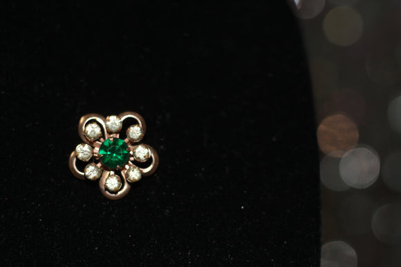 Gold Floral Green Rhinestone Brooch