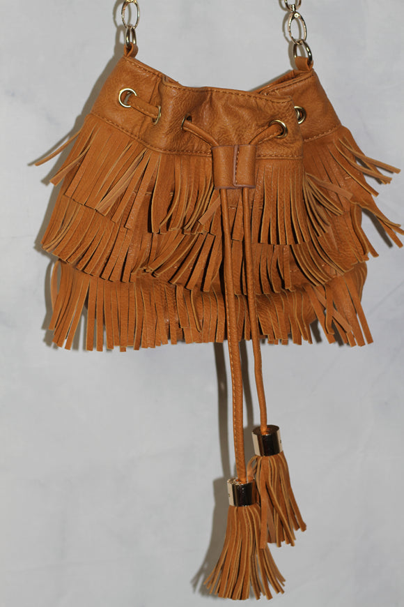 Yoki Camel Crossbody Leather Bag with Tassels