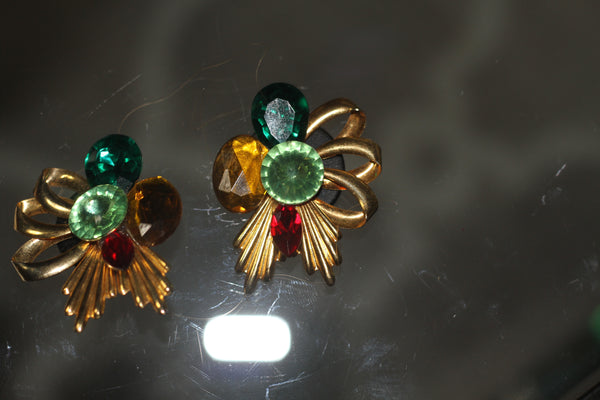 1980's-1990's Multi Color Clip On Earrings