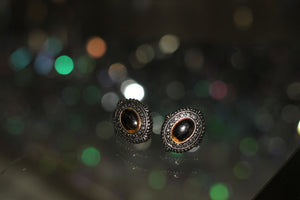 1960's  Oval Silver & Brown Stone Leverback Earrings
