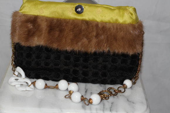 Bessie Bag Brocade Fabric with Real Fur Trim