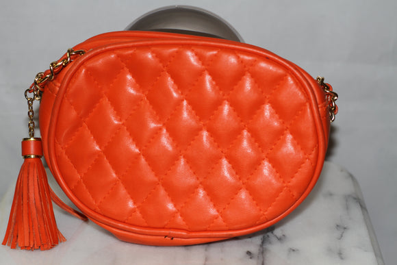 Genuine Leather Orange Handbag Purse with Gold Chain