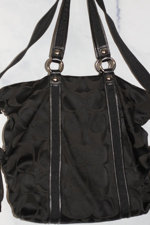 Coach Poppy Black Metallic Handbag