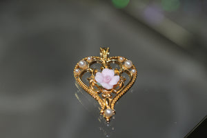 Gold Heart Pendant with Pink Heart & Pearls Pendant