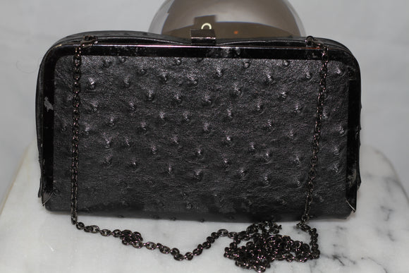 Black Leather Clutch Handbag