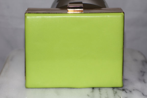 Soft Green Leather Clutch Handbag with Gold Chain
