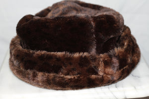 Dark Brown Leopard Vegan Fur Beanie