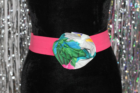 90's Pink Stretch Belt with Multi Color Floral Buckle