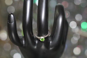 1990's Silver Green Ring Size: 5 1/2