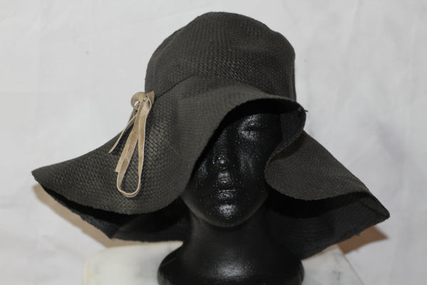 Banana Republic Black Straw Wide Brim Floppy Hat