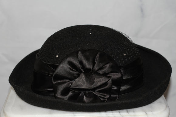 Georgi Wool Black with Black Satin Bow Hat