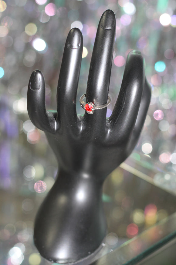 Apple Red Stone Silver Ring Size: 5