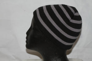 Stripe Black & Grey Beanie Hat