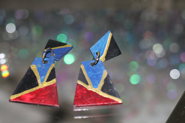 90's Multi Color Square Earrings