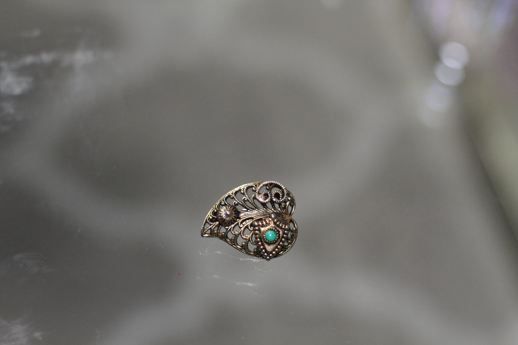 Heart Brooch with Green Stone