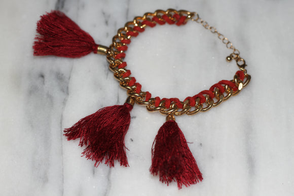 Red Tassel Gold Bracelet