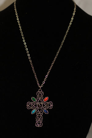 925 Multi Color Silver Cross