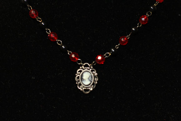 Red & Black Cameo Necklace