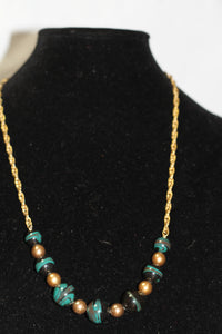 Turquoise Gold Long Necklace