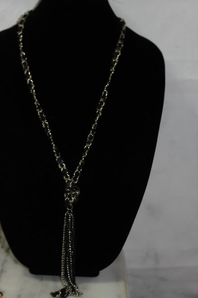 Black Silver Long Tie Necklace