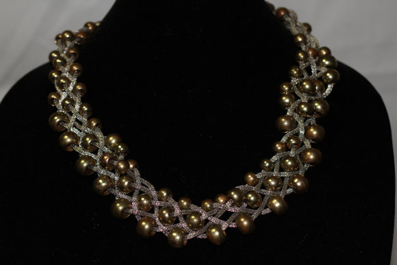 Silver & Gold Beaded Chunky Necklace