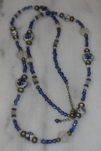 Blue & White Beaded Long Necklace