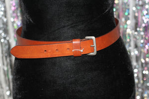 Calvin Klein Italian Leather Solid Brass Buckle Belt *Excellent Condition