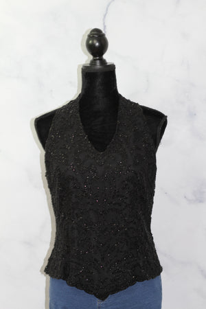 Jakar New York Black Beaded Top (L)