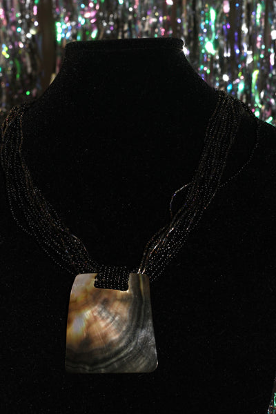 90's Black Beaded Necklace with Statement Pendant *New