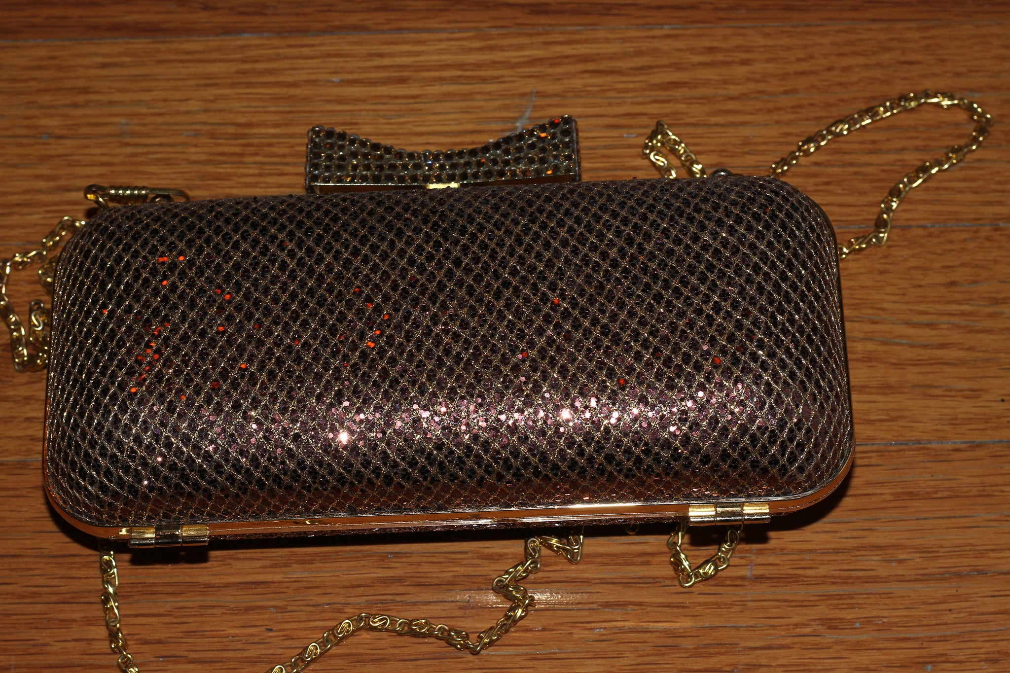90's Urban Expression Brown Shimmer Sequin Clutch with Rhinestone Bow *Excellent Condition