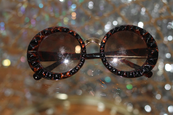 Brown Gold Round Glasses