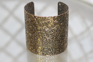 Gold Decorative Cuff Bangle