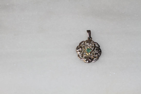 Green Stone Clover Charm Pendant