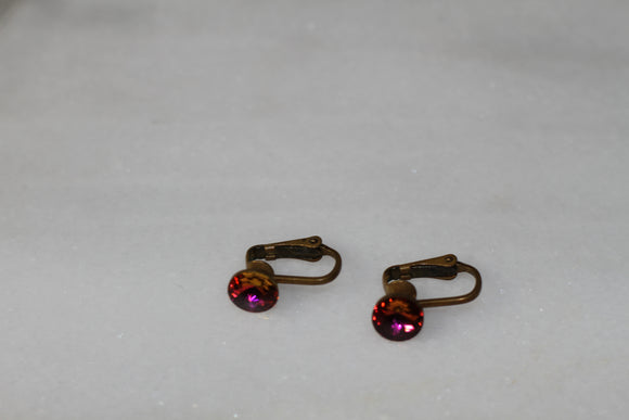 Pink Stone Clip On Earrings