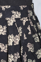 Petite Sophisticated Black & Ivory Floral Long Skirt