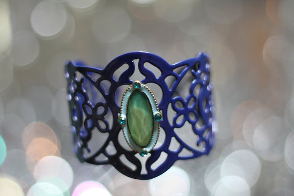 Blue Cuff Bracelet with Peridot Natural Stone