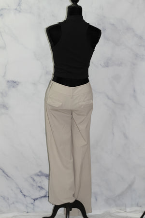 Ann Taylor Loft Ann Taylor Ivory Satin Tailored Pants (M)