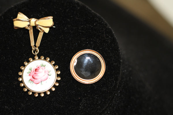 1900's Pink Rose Locket Brooch