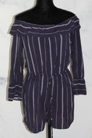 Almost Famous Blue White Stripe Romper (m)