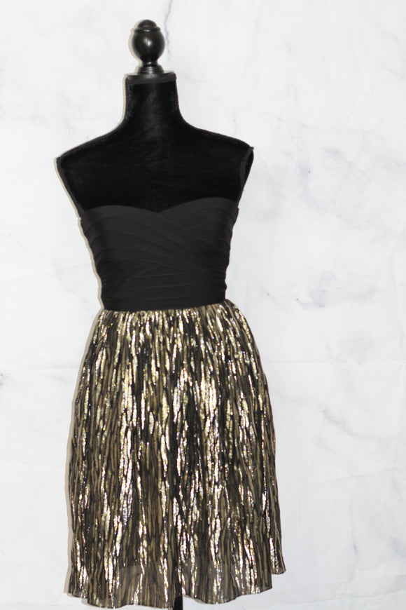 Erin by Erin Fetherston Black & Gold Strapless Dresses (xs)