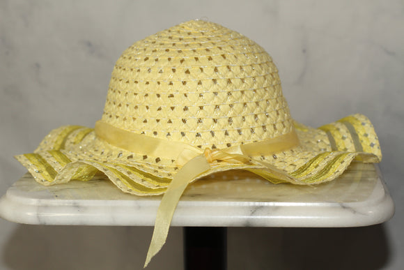 Yellow Straw Victorian Hat