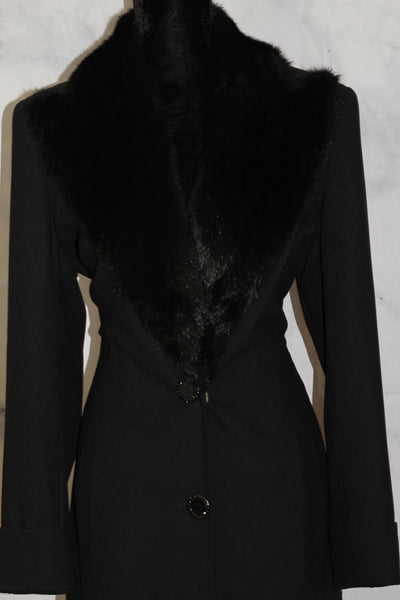 Clara Clara by Vinette Two Way Black Vegan Fur Trench Jacket Coat (12)