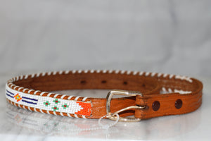 Tribal Leather Beaded Belt