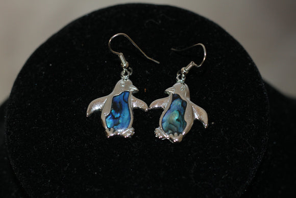 Silver Blue Dolphin Dangle Earrings