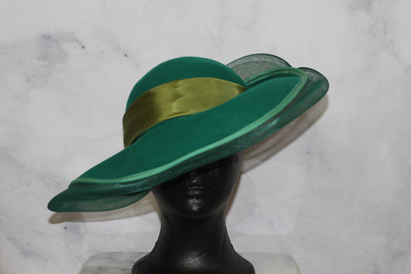 Wool Jody G. for Sylvia of St. Louis Green Bowler Hat (7 3/8)