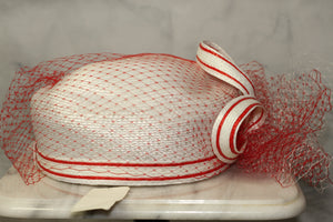Red & White Pill Box Hat
